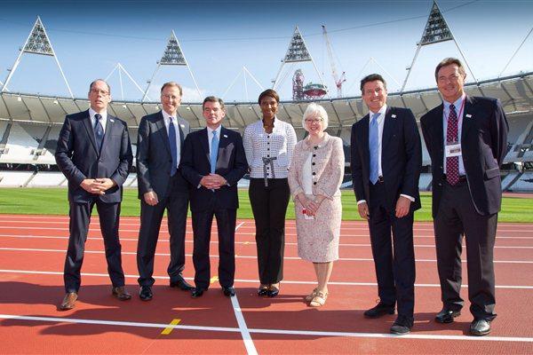 The London 2017 World Championships bid team, from left: UK Athletics CEO Niels de Vos, bid Chairman Ed Warner, Minister of Sport Hugh Robertson, Denise Lewis, Baroness Margaret Ford, Lord Sebastian Coe and UK Athletics President Lynn Davies (onEdition)