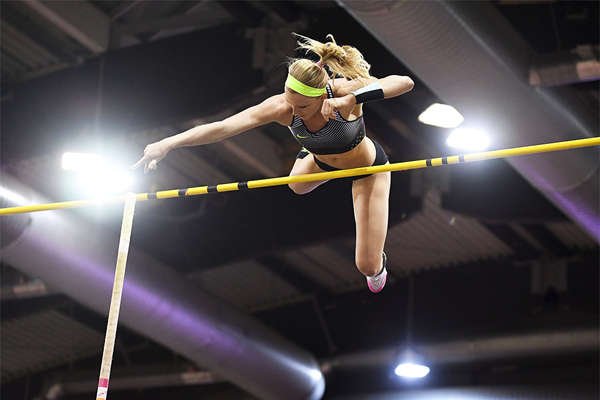 Pole vault winner Sandi Morris at the IAAF World Indoor Tour Meeting in Dusseldorf (Gladys Chai von der Laage)