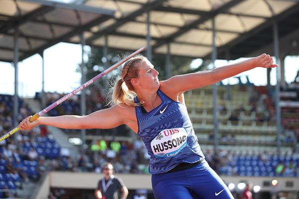 Christin Hussong, winner of the javelin at the IAAF Diamond League meeting in Lausanne (Giancarlo Colombo)