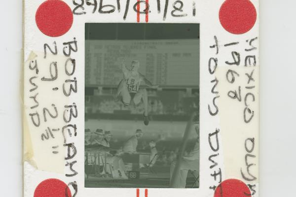 Negative of Tony Duffy's photo of Bob Beamon's world record (Getty Images)