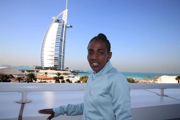 Ethiopia's Worknesh Degefa ahead of the Dubai Marathon (Giancarlo Colombo / organisers)