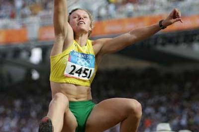 Austra Skujyte of Lithuania in the Heptathlon (Getty Images)