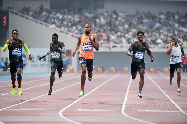 Steven Gardiner wins the 400m at the IAAF Diamond League meeting in Shanghai (Errol Anderson)