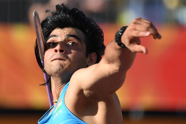 Neeraj Chopra at the 2018 Commonwealth Games (AFP/Getty Images)