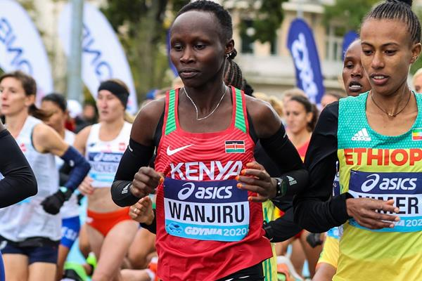 Rosemary Wanjiru in action at the World Athletics Half Marathon Championships Gdynia 2020 (Dan Vernon)