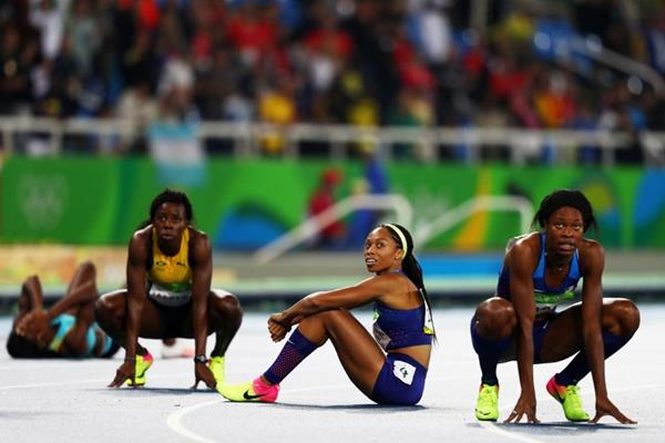 Allyson Felix after taking silver in the 400m at the Rio 2016 Olympic Games (Getty Images)