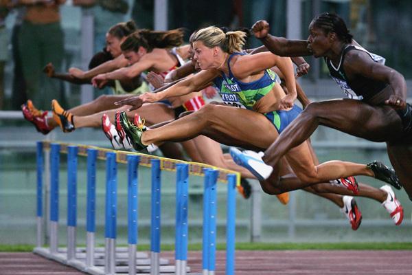 Susanna Kallur of Sweden takes the women's 100m Hurdles in Rome Golden League (Getty Images)
