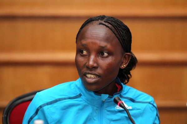 Kenya's Agnes Kiprop at the press conference ahead of the Rock 'n' Roll EDP Lisbon Marathon (Photorun)