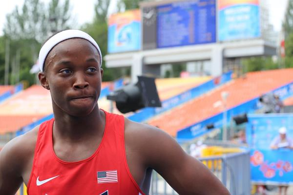USA's Jaalen Jones after winning his 100m heat at the 2013 IAAF World Youth Championships (Rachel Rominger)