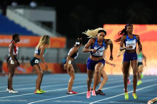 Natasha Hastings of the US in action in the 4x400m heats in Nassau (Getty Images)
