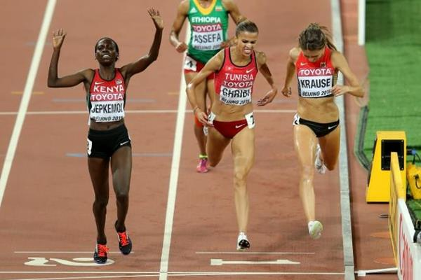 Hyvin Kiyeng Jepkemoi wins the 3000m steeplechase at the IAAF World Championships, Beijing 2015 (Getty Images)