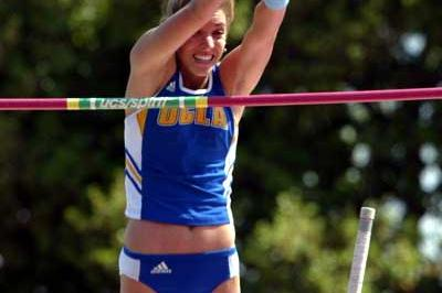 Chelsea Johnson, a member of the university team at UCLA, jumped her second US collegiate outdoor record Chelsea Johnson jumps US collegiate outdoor record - 4.57m (Don Gosney)
