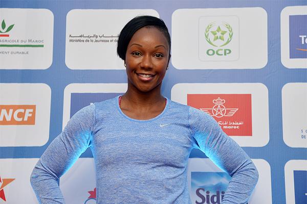 Carmelita Jeter ahead of the 2016 IAAF Diamond League meeting in Rabat (Kirby Lee)