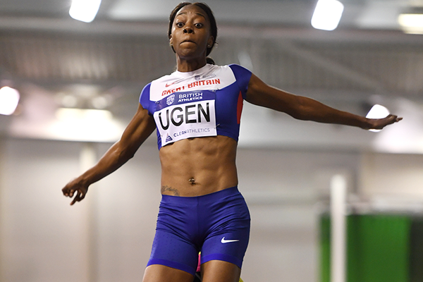 Lorraine Ugen wins the long jump at the British Indoor Championships (Getty Images)