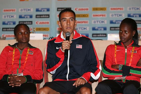 Hellen Obiri, Leonel Manzano and Eunice Sum at the press conference ahead of the IAAF World Relays in Nassau (Getty Images)