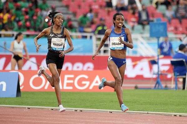 Genzebe Dibaba on her way to winning the 1500m at the IAAF Diamond League meeting in Rabat (Kirby Lee)