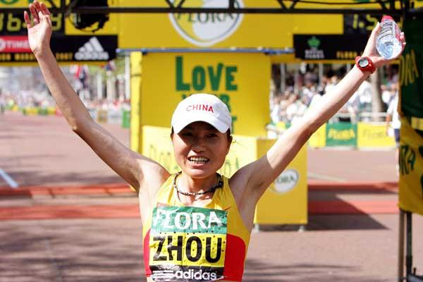 Zhou Chunxiu, of China, victorious at the Flora London Marathon (Getty Images)