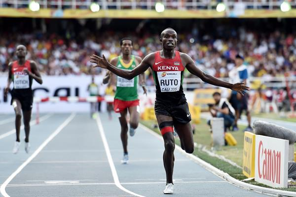 Vincent Kipyegon Ruto wnning the boys' 2000m steeplechase at the IAAF World Youth Championships, Cali 2015 (Getty Images)
