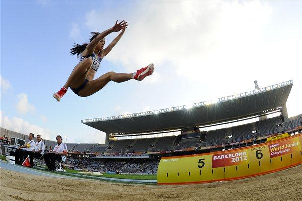 Katarina Johnson-Thompson of Great Britain jumping for gold medal of the Women's Long Jump Final on the day four of the 14th IAAF World Junior Championships in Barcelona on 13 July 2012 (Getty Images)