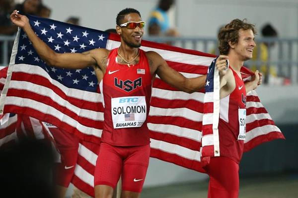 Duane Solomon and Erik Sowinski, from the USA, after the men's 4x800m at the IAAF/BTC World Relays, Bahamas 2015 (Getty Images)