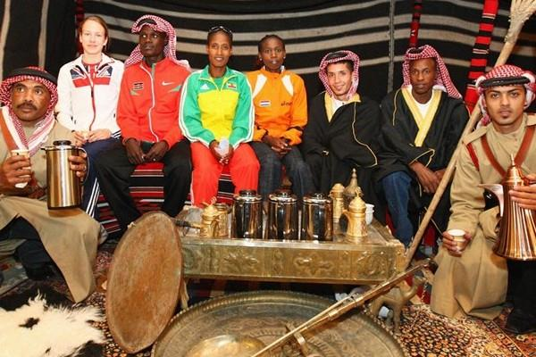 Participants at the LOC press conference in Amman, left to right: Stephanie Twell of Great Britain, Mark Kiptoo of Kenya, Hilda Kibet of Holland, German Fernandez of USA and Saif Saaeed Shaheen of Qatar (Getty Images)
