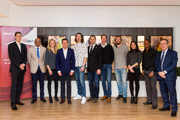 Rozle Prezelj, Frank Fredericks, Paula Radcliffe, Sebastian Coe, Tommi Evila, Koji Murofushi, Christian Olsson, Andreas Thorkildsen, Alina Talay, Michael Frater and Jean Gracia at the IAAF Athletes' Commission meeting in Monaco (Philippe Fitte)