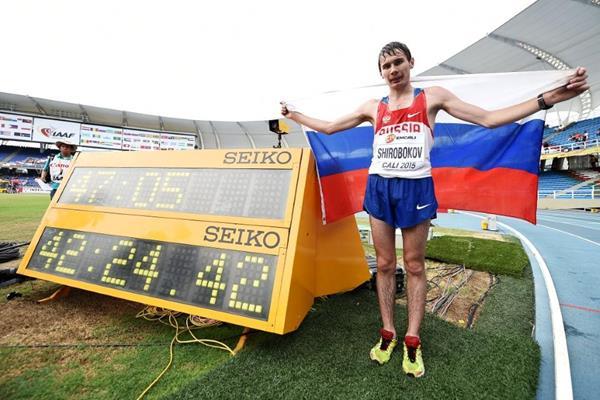 Boys' 10,000m race walk winner Sergey Shirobokov at the IAAF World Youth Championships, Cali 2015 (Getty Images)