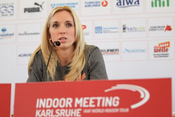 Cindy Roleder at the press conference ahead of the 2016 Indoor Meeting Karlsruhe  (Jean-Pierre Durand)