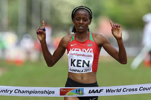 Beatrice Chepkoech anchors Kenya to the mixed relay title in Kampala (Roger Sedres)