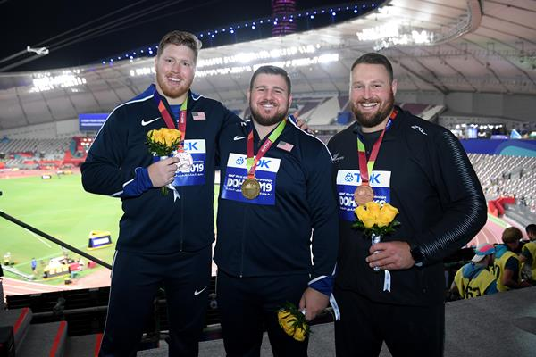 Men's shot put podium at the IAAF World Athletics Championships Doha 2019 - silver medallist Ryan Crouser, champion Joe Kovacs and bronze medallist Tom Walsh (Getty Images)