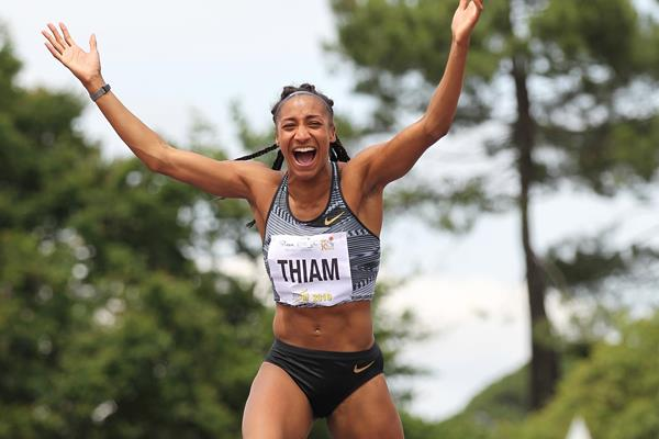Nafissatou Thiam in the heptathlon high jump at the Decastar meeting in Talence (Jean-Pierre Durand)