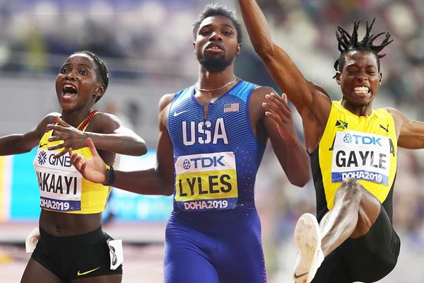 Halimah Nakaayi, Noah Lyles and Tajay Gayles at the IAAF World Athletics Championships Doha 2019 (Getty Images)