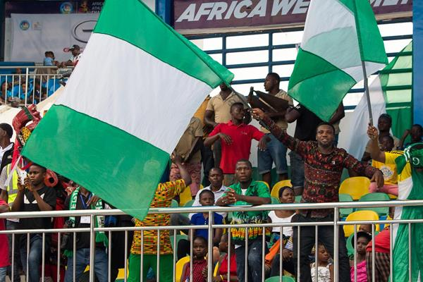 Fans at Stephen Keshi Memorial Stadium in Asaba (Bob Ramsak)