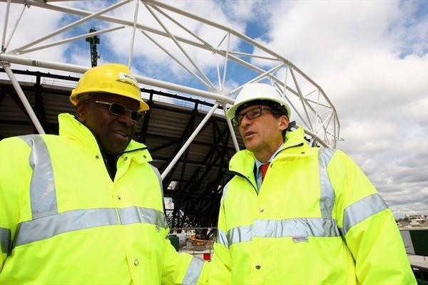 IAAF President Lamine Diack and London Organising head and IAAF Vice-President Lord Sebastian Coe surveying Olympic Stadium construction in London (Getty Images)