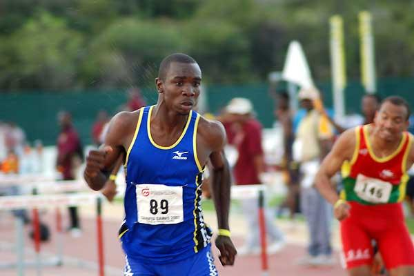 Barbadian Ryan Brathwaite takes the U20 110m Hurdles - CARIFTA (Anthony Foster)