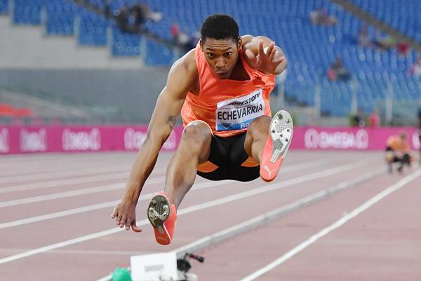 Juan Miguel Echevarria in the long jump at the IAAF Diamond League meeting in Rome (AFP / Getty Images)