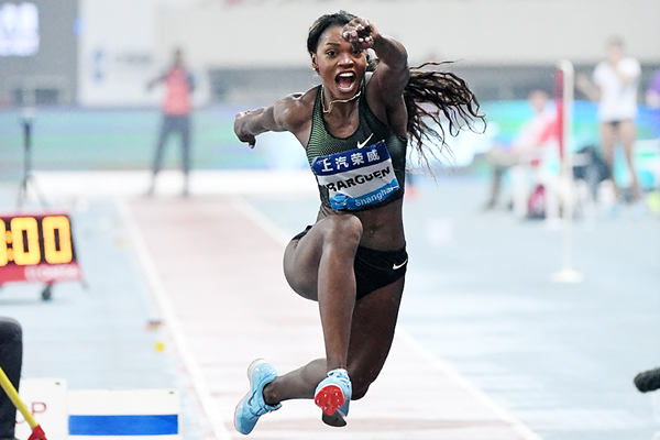 Caterine Ibarguen, winner of the triple jump at the IAAF Diamond League meeting in Shanghai (Errol Anderson)