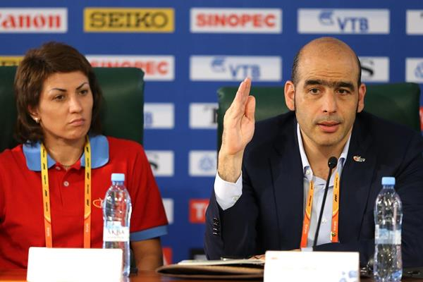 The IAAF Ambassadors Press Conference: Tatyana Lebedeva and Esser Gabriel (Getty Images)