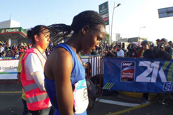 Diana Chemtai Kipyokei after winning the Guadalajara Half Marathon (Organisers)