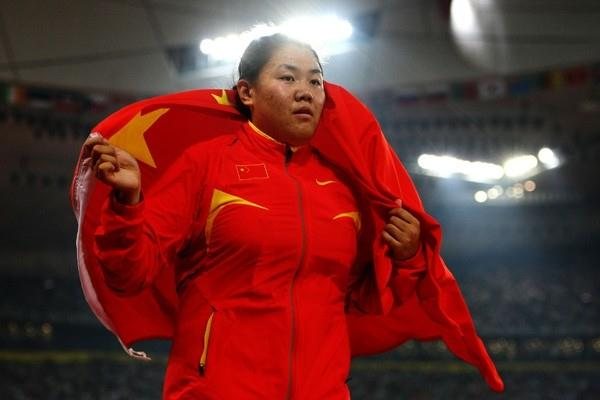 Zhang Wenxiu of China takes bronze in the women's hammer (Getty Images)