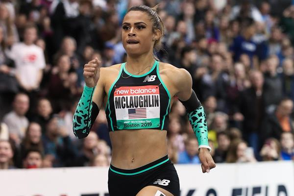 Sydney McLaughlin, winner of the 500m at the World Indoor Tour meeting in Boston (Victah Sailer)