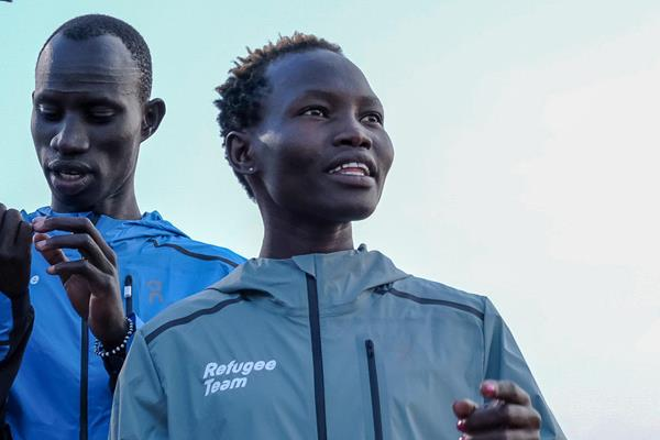 Rose Nathike Lokonyen and James Chiengjiek ahead of the IAAF World Relays Yokohama 2019 (Michelle Sammet)
