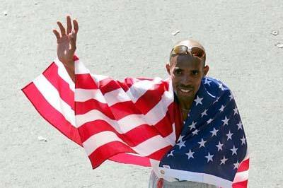 Mebrahtom Keflezighi after his runner-up finish at the 2004 New York City Mathon (Getty Images)
