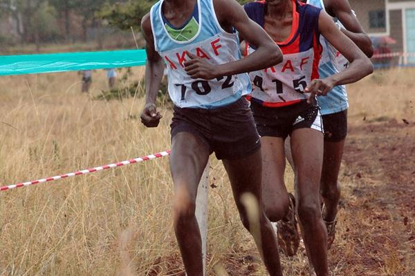 Lynet Chepkurui on the way to winning the women's eight-kilometre race at the 2009 Kenyan Armed Forces Cross Country Championships at the Kahawa Garrison in Nairobi (Elias Makori)