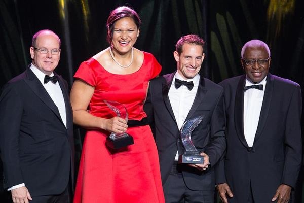2014 World Athletes of the Year Renaud Lavillenie and Valerie Adams with HSH Prince of Monaco and IAAF president Lamine Diack (Philippe Fitte / IAAF)