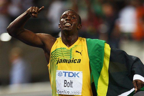 Usain Bolt after his 100m World record at the 2009 World Championships in Berlin (Getty Images)