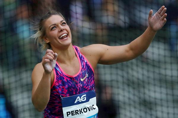La vincitrice del Discus Sandra Perkovic alla finale della IAAF Diamond League a Bruxelles (Getty Images)