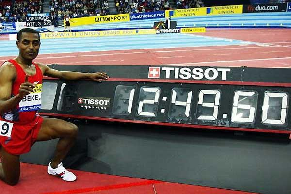 Bekele's World indoor record clocking (Getty Images)