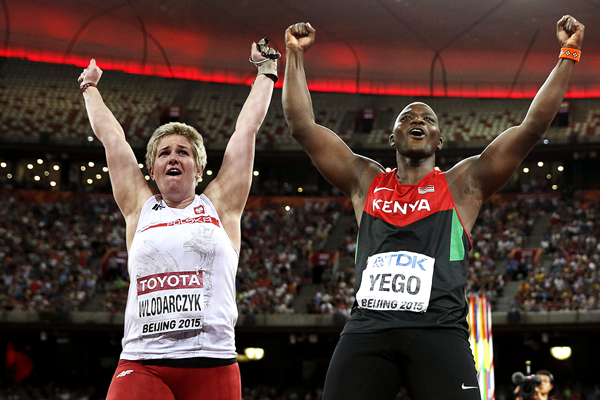 Anita Wlodarczyk and Julius Yego (AFP / Getty Images)