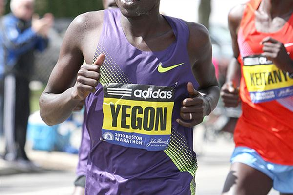 Gilbert Yegon at the 2010 Boston Marathon (Victah Sailer)